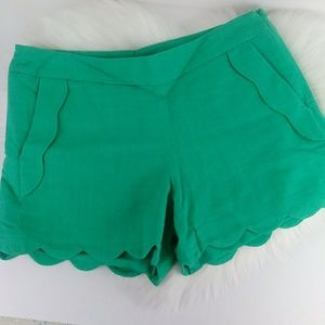Cynthia Rowley Scalloped Linen Blend Shorts Green